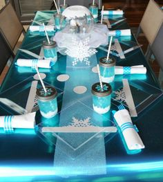 Pretty table at a FROZEN Birthday Party!  See more party ideas at CatchMyParty.com!