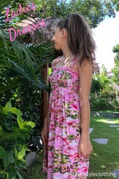 Ladies Pink Flamingo Tube Dress. Beautiful dress for  for Luau, Cruise, Beach Party or Casual wear #luaudress #partydress #cruisedress #hawaiiandress #floraldress #islanddress #flamingodress #flamingoparty #tubedress #springbreak #cruisewear #cruise #springbreak #honeymoon #vacatation
