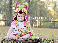 PATTERN -  Pink Berry Owl Hat - Crochet PDF Pattern on Etsy, $6.96