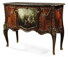 A FRENCH ORMOLU-MOUNTED KINGWOOD, BOIS SATINE AND VERNIS MARTIN COMMODE  BY A. CHEVRIE, PARIS, LAST QUARTER 19TH CENTURY!