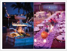 From a candle lit fountain at cocktail hour to vibrant eclectic decor - this wedding at the Bel Air Bay Club by Alchemy Fine Events was a beauty! www.alchemyfineevents.com