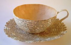 teacup made from old book pages