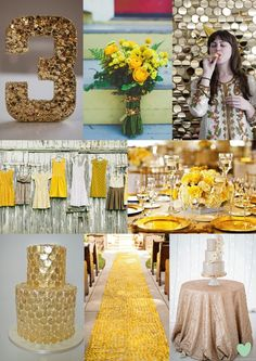 Gold Sparkle and Yellow Wedding Styling