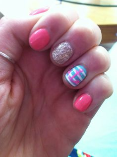 Nail design spring time, anchor, bright colors