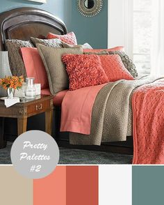 coral and taupe with the soothing slate -  kate, this would be a pretty bedroom palette for you! color palettes, color schemes, color combos, guest bedrooms, spare bedrooms, bedroom colors, color combinations, master bedrooms, guest rooms