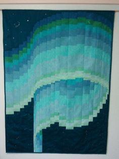 """Silk Northern Lights bargello quilt  48""""x36"""""""