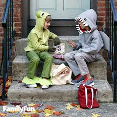 For our Friendly Frog costume, simple craft foam shoe covers and oversize eyes transform your child into a prince of an amphibian. With our Shocking Shark, your child can wear a hoodie with face-framing teeth and a standing dorsal fin.