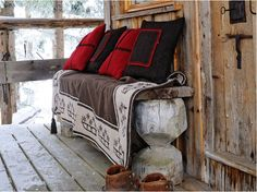wooden benches, pillow, winter cabin, beavers, tree houses
