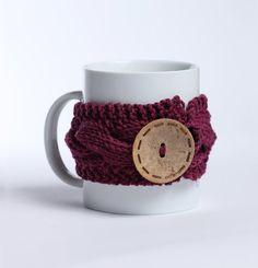 Knitted mug cozy tea cup cozy  coffee sleeve magenta by shumshu