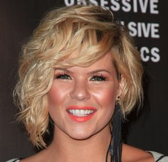 Kimberly Caldwell Short Curls - StyleBistro. I really like the asymmetrical cut that still looks good with wavy hair. Wondering how much maintenance/styling this would need though.