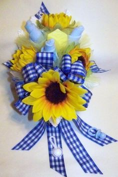 Baby Boy Sock Corsage with Four Sunflowers