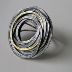 Ring | Jessica Briggs. Oxidized silver and 18ct gold
