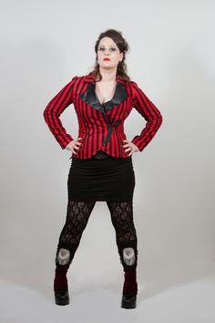 stripes n studs jacket, gothic, circus. £149.99 http://www.emeraldangel.co.uk/gothic-stripes-blazer.html