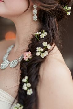 Fishtail braid with flowers / Marcie Meredith Photography