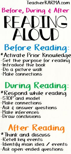 "FREE Reading Strategies & Printables What do your students do with their brains while they are reading? I hope the answer isn't ""nothing!"" LOL!! For some great reading strategies over what your kiddos need to be thinking about... Before Reading During Reading After Reading Please click here to get your FREE reading strategies and printables. before during and after reading making connections prior knowledge reading strategies responding to text <a href=""http://teacherkarma.com"" rel=""nofollow"" target=""_blank"">teacherkarma.com</a>"