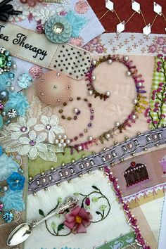 beautiful crazy quilt embellishments