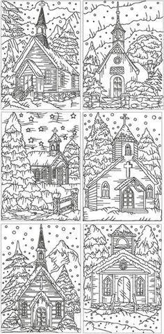 Redwork Christmas Church Set