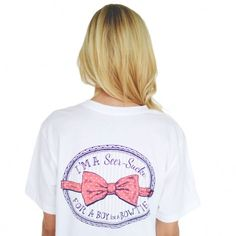 I'm a Seersucker for a Boy in a Bow Tie You know what we love? Seersucker. You know what else we love? PUNS. Lucky for us, this shirt has them both.  Boys always complain that women are impossible to figure out - this tee should give them all the direction they need!  #preppy #springfashion #laurenjames #foxyprep #seersucker  http://www.countryclubprep.com/i-m-a-seersucker-for-a-boy-in-a-bow-tie-tee-in-white-by-lauren-james.html