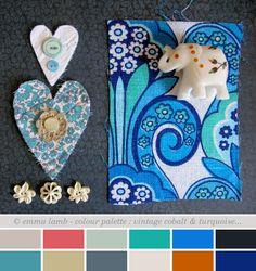 colour palette : vintage cobalt & turquoise... by emma lamb, via Flickr