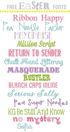 "Free Easter Fonts ""Masquerade, Rustler & No Mystery"" #free #fonts #edtech #technology"