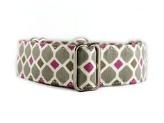 Fuschia and slate makes a stunning combo for this martingale collar