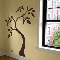 Pretty Tree Swirling Leaves - Vinyl Wall Decals