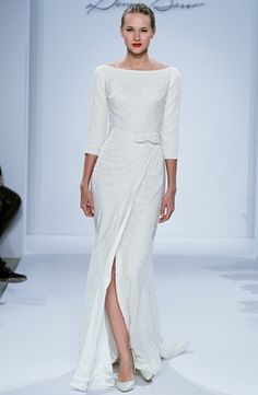 Dennis Basso: Sheath Wedding Dress with Bateau Neckline and Natural Waist Waistline