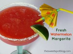 Fresh Watermelon Margarita by The Sweet Spot Blog  http://thesweetspotblog.com/watermelon-margarita/  #cocktails #watermelon #margarita #tequila