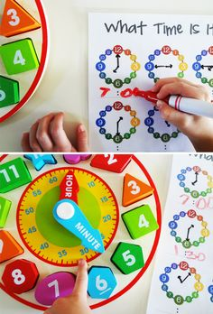{Learn how to tell time} Activities + printable. Find this clock online here: http://www.melissaanddoug.com/shape-sorting-clock-wooden-learning-to-tell-time-toy-for-preschoolers