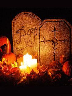 DIY Foam Halloween Tombstones - Outdoor Halloween Decorations