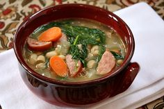 Bean and Sausage Soup by recipegirl: Healthy and satisfying without breaking the calorie bank. i love soups!