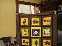 Chip and his Boy Scout quilt by quiltingdiva628, via Flickr flickr, chips, boy scout, quiltingdiva628, quilts, diy craft, diy idea, quilt idea, scout quilt