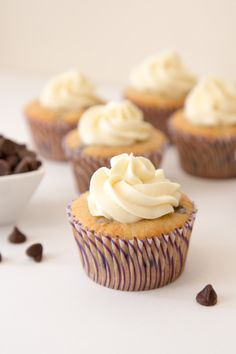 Banana Chocolate Chip Cupcakes with Cream Cheese Frosting #cupcakes #cupcakeideas #cupcakerecipes #food #yummy #sweet #delicious #cupcake