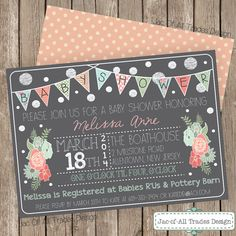 Vintage & Shabby Chic Baby Shower Invitation FULLY CUSTOMIZABLE with chalkboard background and bunting banner!