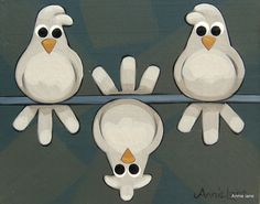 * THERE'S ONE IN EVERY CROWD * Whimsical Birds Painting Whimsical Art by Annie Lane
