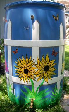 Spray Painting Plastic Barrels