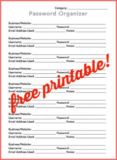 Free Printable Password Organizer-- in light of the recent computer virus, having a hard copy of passwords is a MUST, especially since they're advising people to change them all! #organizing #homeorganization