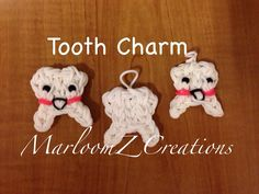 Rainbow Loom TOOTH Charm. Designed and loomed by MarloomZ Creations. Click photo for YouTube tutorial.