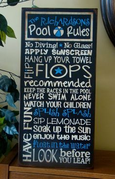 Personalized+Pool+Rules+Typography/Word+Art+Wooden+by+kshopa,+$83.00