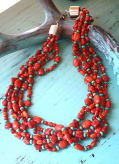 Coral and green Mojave multi-strand necklace from Cowgirl Kim