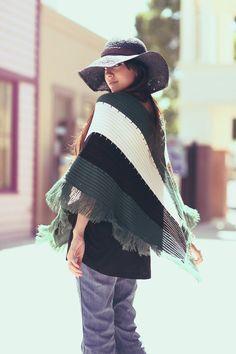Dark Green Brown Ivory Knit Fringe Boho Poncho  by BadJamesVintage