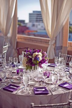 Purple tabl scape, weddings, navi tabl, table scapes, navy purple wedding, table linens, centerpieces, round tables, color themes
