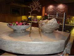 Love this concrete countertop & decorations! The concrete bowls are a perfect addition! http://www.craneconcretecounters.com/
