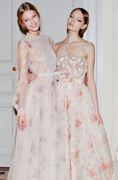 Valentino Haute Couture S/S 2012, Toni Garn and Nimue Smit backstage bridesmaids, valentino, girl fashion, bridesmaid dresses, flower dresses, flower prints, the one, white gowns, haute couture