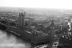 Bird's eye view of the river Thames, Big Ben and Parliament, London