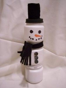 Snowman from Upcycled Baby Food Jars