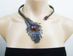 Peacock feather necklace one of a kind seed beads by 7PMboutique, $104.00