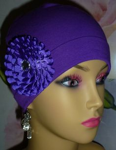 Purple Knit Chemo Hat with Satin Rosette Knit by ArtsyTreats, $10.00