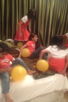 Orange you glad it's summer bash; end  party cleanup game..have girls pop as many balloons by sitting on them. ( not suitable for lil ones that still put things in their mouths)