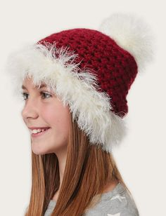Yarnspirations.com - Bernat Fur Trimmed Hat - Christmas2014  | Yarnspirations